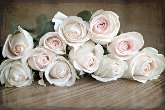 Spring Photography nature Pink rustic decor Shabby Chic romantic light brown pale texture roses flowers photograph - Is This Love Art Print