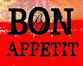 Kitchen Art Print Black Red Bon Appetit Dining Room Home Decor