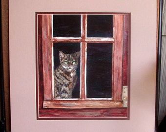 The Cat In The Window Original Watercolor