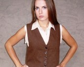 RESERVED FOR SUNDOGKK DO NOT BUY Cropped Brown Wool Vest- Vintage