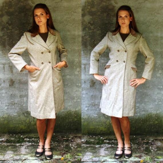 Dove Gray Long Wool TRENCH COAT with VELVET