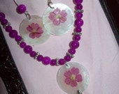 Fuschia Flower Inlaid on Seashell Necklace and Earrings