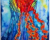 Sea Nettle Jellyfish Original Watercolor Painting