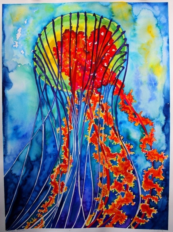 Sea nettle jellyfish original watercolor painting for Jelly fish painting