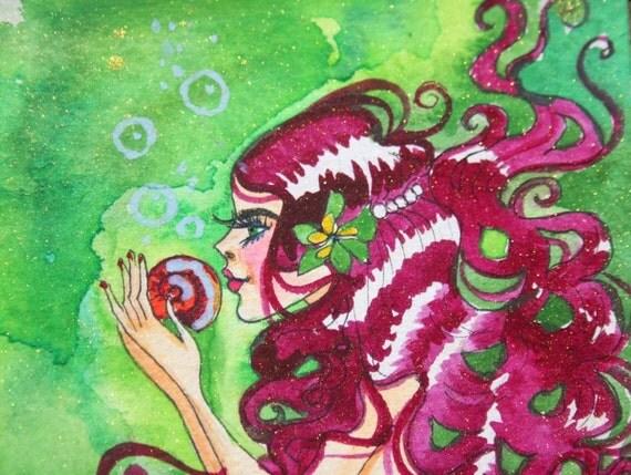 River Mermaid Original Watercolor Painting