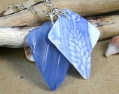 Seaside Charm Soft Cobalt Blue Sea Glass and Vintage China Necklace
