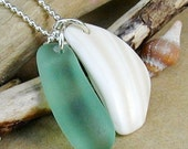Seaside Charm Bright Sea Foam Green and Shell Necklace