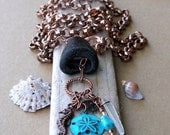 The Southwest Joins the Sea - Sea Glass, Copper, Turquoise Art Necklace