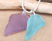 Boho Chic Purple and Aqua Blue Sea Glass Necklace