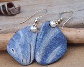 Navy Shell and Pearl Earrings Sterling Silver