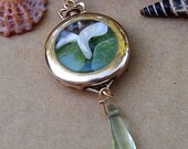 Sea Glass Watch Pendant Necklace Two Sided Gold Filled Antique circa 1900 Sea Dream