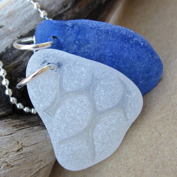Sail Away Blue and White Beach Glass Necklace