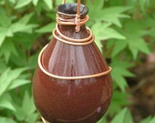 Repurposed Plant Rooter Vintage Brown Vase and Copper