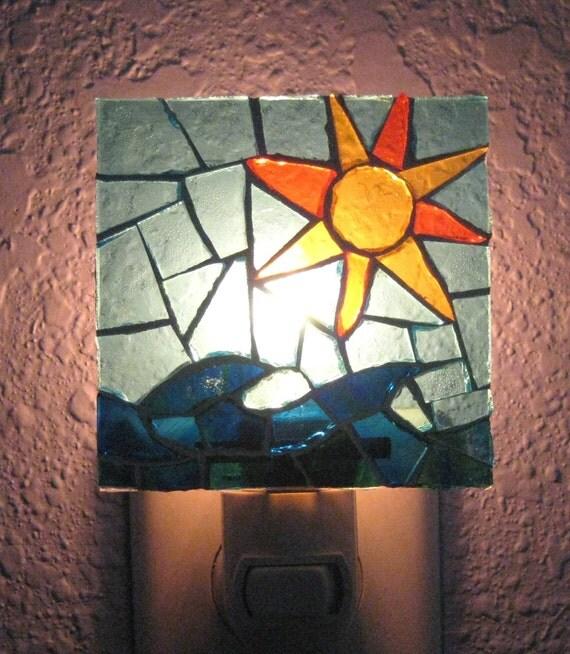 Sun and Water Glass Mosaic Night Light
