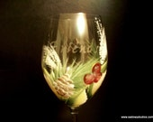 Hand Painted and Etched Personalized Wedding or Christmas Wine Glasses