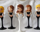 Custom Painted Bridal Party,  Bride and  Bridesmaids Set of 9 Black Dress Customized  Wedding Party Glasses Dishwasher Safe