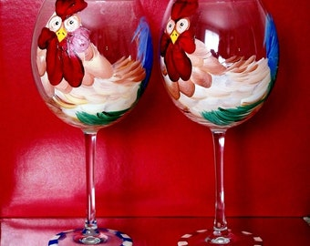 Large Red Wine Rooster Glass - Hand Painted Dishwasher Safe