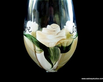 Live Love Laugh White Roses Bridal Wine Glass Handpainted Can be Personalized Dishwasher Safe