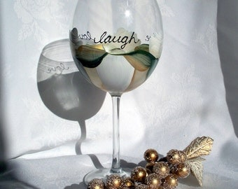 Live Love Laugh  Large Red Wine Glass,  Hand Painted and Dishwasher Safe