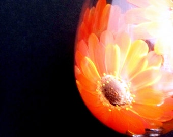Gerber Daisies Wine Glass Large Handpainted  Dishwasher Safe