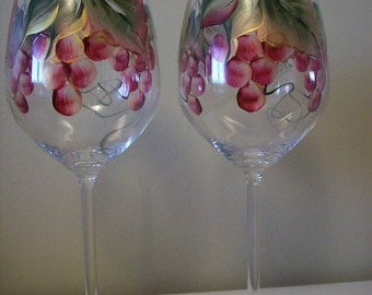 Hand Painted Dishwasher Safe Wine Glasses.  Beautiful Gift.