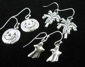 3 Pair Halloween Fun  Earrings on Silver plate french hooks