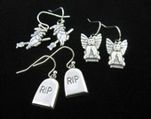 3 Pair Scary Halloween Fun  Earrings on Silver plate french hooks