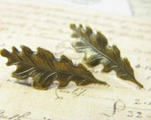 Pair Of Oakleaf earrings (posts in silver plate) the leaves are beautifully detailed