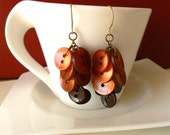 Ready To Harvest Earrings, Red and Brown Buttons and Brass OOAK