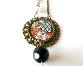 Snow White necklace. Mother's Day gift. Illustration, fairytale Jewelry. Black, silk cord. Amoronia handmade.