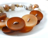SALE - HALF PRICE, Clearance, Mellow, ooak Bracelet With Vintage Buttons and Porcelain Beads in Orange Colors