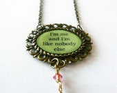 Inspirational quote necklace, Swarovski and brass id jewelry. Green and orange necklace. Lena Horne legendary quote. Half price sale.