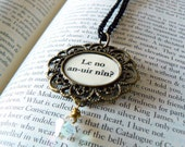 Elvish Love Message Tolkien Quote Necklace. LOTR jewelry. Lord of the Rings fans geeks nerds. Antique bronze, black and clear AB Swarovski.