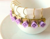Orchid blossom earrings. Purple flower gold book brass lockets. Wedding, bridesmaid, spring, floral. Clip on available.