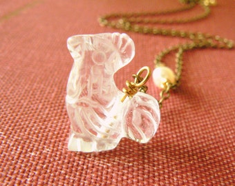 Spring rooster and pearl necklace. Rustic. Playful. Elegant. Cute. Carved crystal quartz stone and bronze.