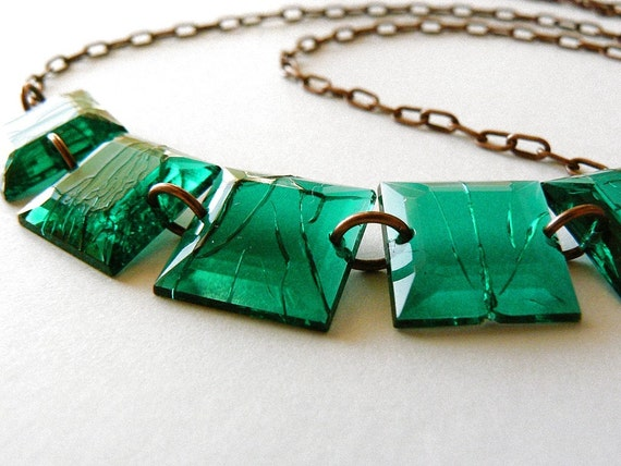 Cleopatra, Necklace with Salvaged Acrylic Jewels, Green and Antique Copper