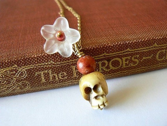 Skull Necklace. Literary jewelry. Carved bone, red coral and white flower on brass. Poor Yorick, Hamlet inspired. A Flower for Yorick.