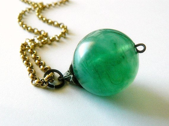 SALE - HALF PRICE, Clearance, Emerald Amulet, Long Chain Pendant Necklace, Brass and Very Vintage Green Plastic Charm