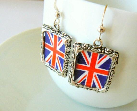 London Olympics British flag earrings. United Kingdom jewelry. Sterling silver hooks. UK. Union Jack. English. Olympic Games jewelry.