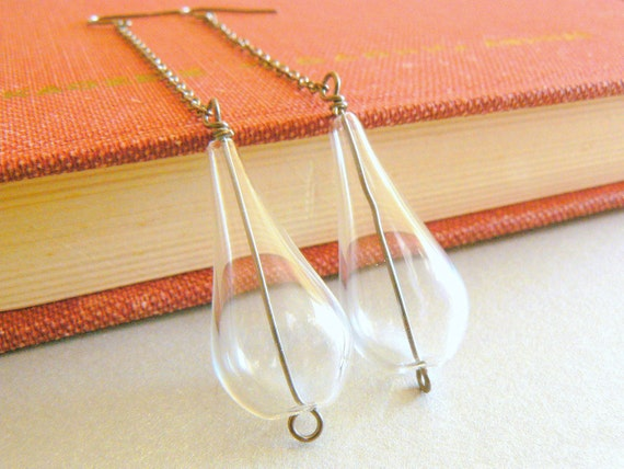 Clear jewelry, long teardrop earrings, rain drop, water drop, gunmetal and clear hollow glass pear shaped beads