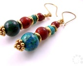SALE: 40% OFF Azurite, Turquoise, Sponge Coral, 24k gold vermeil earrings