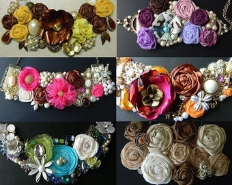 Statement necklace TUTORIAL -pdf- With  3 Flower Tutorials - all you need to get started