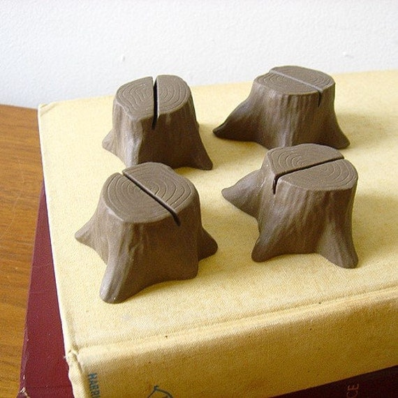 Tree stump place card holder - set of 4 - Brown
