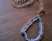 Gray Quartz and Crystal Necklace
