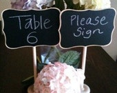1 Fancy Large Chalkboard Table Stands with Chalkboard Label - Hostess Gift, Wedding Tables, Table Numbers, Buffet Stands, Chalkboard Menu
