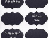 120 Mason Jar Chalkboard Labels BUBBLE Frame, Chalkboard Stickers  - 120 - 3 inch  Water Resistant and Semi Permanent
