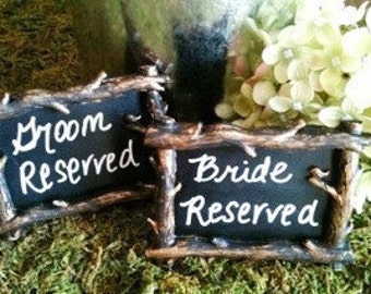 5 Mini Tree Branch Chalkboard Frames- Rustic Wedding Style -Chalkboard Labels,Place Settings, Wedding Chalkboards