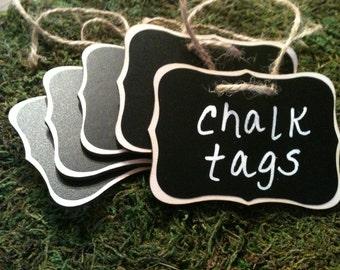 Fancy Wood Chalkboard Labels - set of 12 - Basket Labels, Chalkboard Tags, Wedding Chalkboards, Rustic Wedding