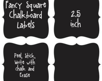 Fancy Square Chalkboard Labels - 2.5 - 12