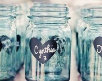 200 Heart Chalkboard Mason Jar Labels-DIY Mason Jars and Wedding Favors-FREE Shipping, Heart Chalkboard Stickers
